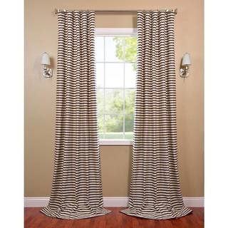 EFF Black/Cream Hand-woven Cotton-blend Curtain Panel