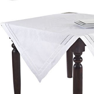 Embroidered and Hemstitched Linen-blend Table Topper