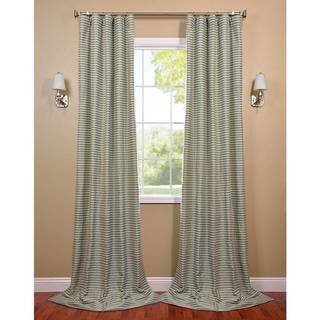 Teal and Natural Hand-woven Cotton Curtain Panel