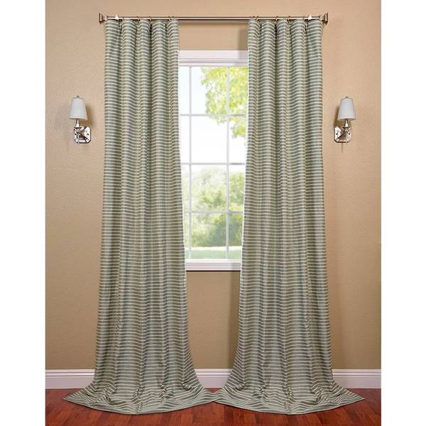 Exclusive Fabrics Teal and Natural Hand-woven Cotton Curtain Panel