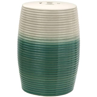 Beige and Green Ribbed Porcelain Garden Stool (China)