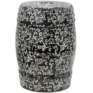 Black and White Floral Porcelain Garden Stool (China)