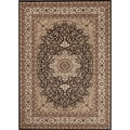Medallion Traditional Black Rug (4' x 5'3)