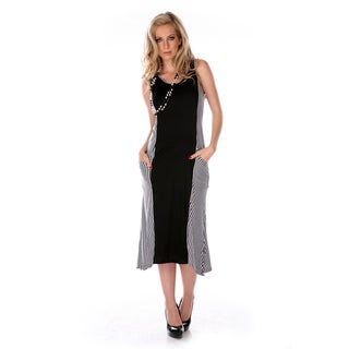 Women's Black and White Spliced Maxi Dress