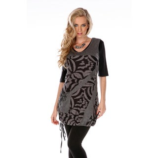Women's Black and Grey Spliced Top