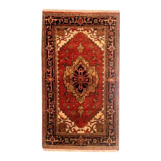 Indo Hand-knotted Heriz Red/ Black Wool Rug (2' x 3')