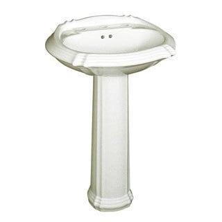 Ceramic Biscuit 8-inch Spread Pedestal Sink