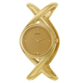 Calvin Klein Women's 'Enlace' Yellow Gold PVD Coated Stainless Steel Swiss Quartz Watch