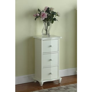 White Wood 3-drawer Cabinet Chest