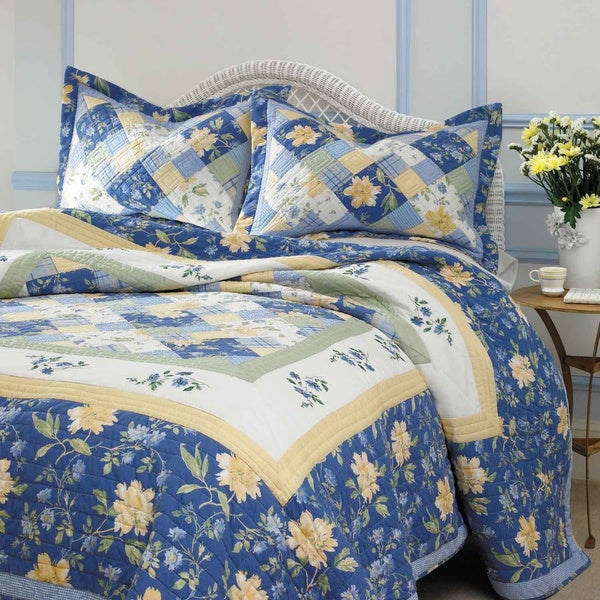 Laura Ashley Emilie 3-piece Cotton Quilt Set