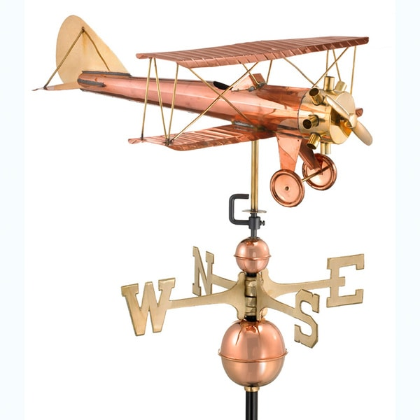 Good Directions Biplane Copper Weathervane