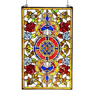 Tiffany Style Victorian Glass Window Panel