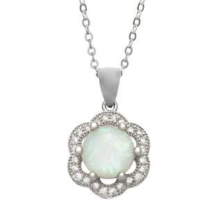 La Preciosa Sterling Silver Opal and Micro Pave CZ Flower Pendant