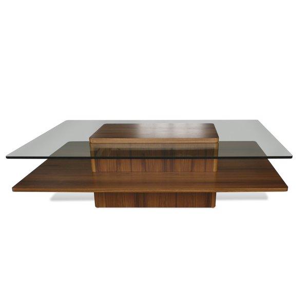 Jesper Office Glass and Teak Wood Coffee Table