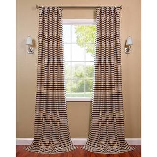 Blue and Beige Hand-woven Cotton Curtain Panel