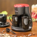 Ovente Black and Red 2-cup Coffeemaker
