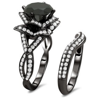 Noori 14k Black Gold 3 3/5ct Certified Black Round Diamond Lotus Flower Ring Set