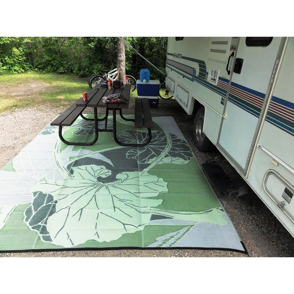 Blossom RV Camping Outdoor Reversible Green Grey Patio