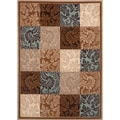 Damask Blue/ Brown Boxes Area Rug (7'10 x 10'2)