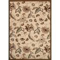 Transitional Medium Petals and Leaves Beige Area Rug (7'10 x 10'2)