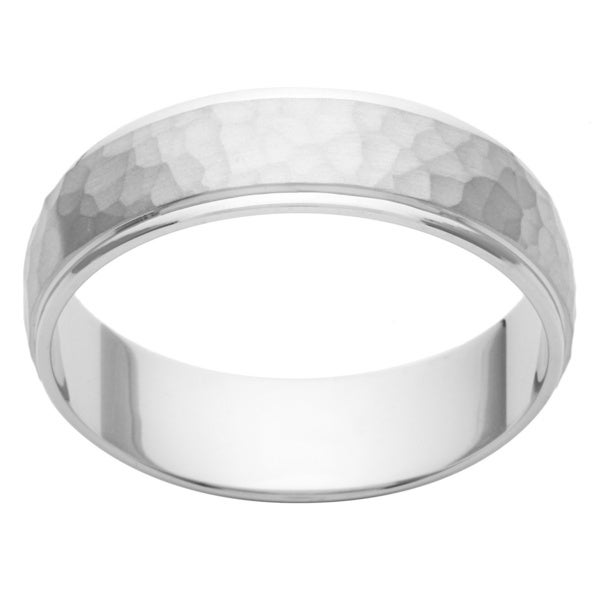 Cambridge Platinum 6mm Hammered Finish Men s Wedding Band Overstock™ Sh
