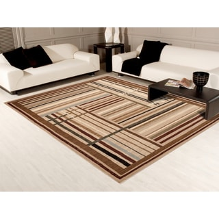 Transitional Beige Multi-stripe Area Rug (7'10 x 10'2)