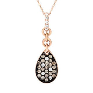 10k Rose Gold 1/4ct Brown and White Diamond Necklace (H-I, SI1-SI2)