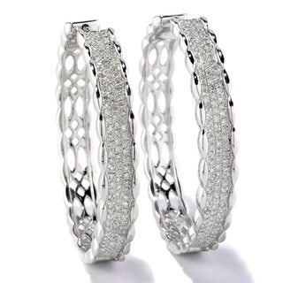 Sterling Silver 1ct TDW White Diamond Pave Hoop Earrings (H-I, I2-I3)