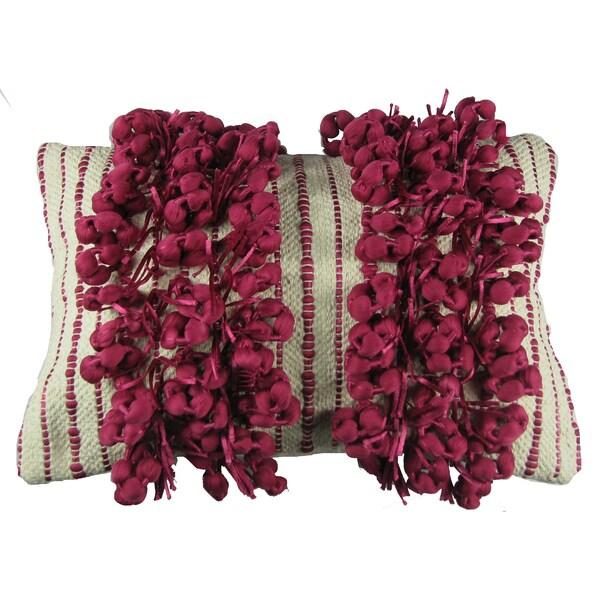 Fuchsia Fringe Down Filled Decorative Pillow
