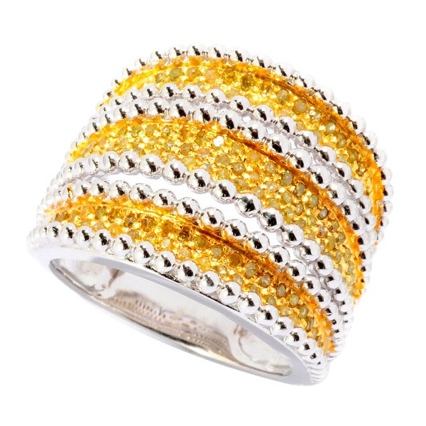 Sterling Silver 3/4ct TDW Yellow Diamond Multi-row Ring