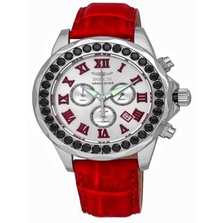 Invicta Men's 'Grand Diver' Red Leather Watch