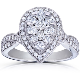 Annello 14k White Gold 1ct TDW Pear Shape Diamond Ring (G-H, I1-I2)