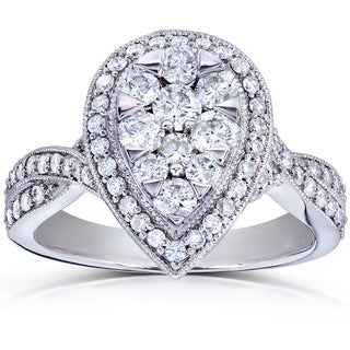 Annello 14k White Gold 1ct TDW Pear Shape Diamond Composite Engagement Ring (H-I, SI1-SI2)