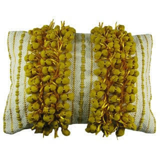 Yellow Fringe Down Filled Decorative Pillow