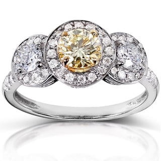Annello 14k White Gold 1 1/5ct TDW Certified Yellow and White Diamond Ring