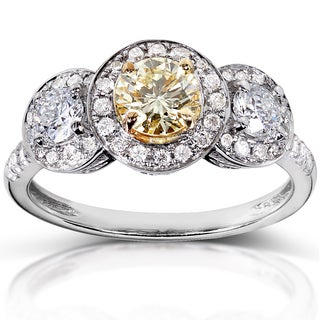 Annello 14k White Gold 1 1/5ct TDW Certified Fancy Yellow and White Diamond Ring