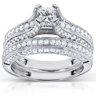 Annello 18k White Gold 1 4/5ct TDW Diamond Bridal Ring Set