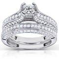 Annello 18k White Gold 1 4/5ct TDW Princess Center Diamond Bridal Set