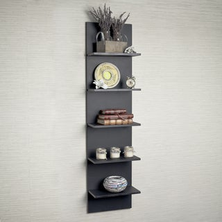Wide Column Wall Shelf in Black Grain Finish