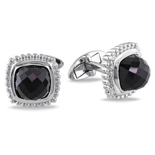 Miadora Sterling Silver 5ct TGW Black Onyx CuffLinks