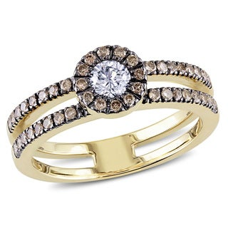 Miadora 14k Yellow Gold 1/2ct TDW Brown and White Diamond Ring (G-H, I1-I2)