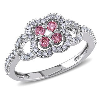Miadora 14k White Gold 1/2ct TDW Pink and White Diamond Ring (I1-I2)