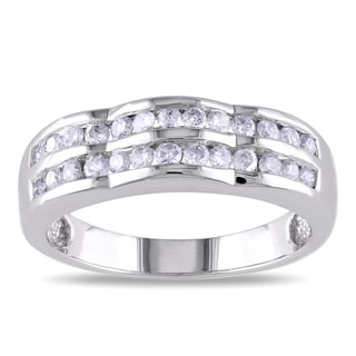 Miadora 14k White Gold 1/2ct TDW Double Row Diamond Ring (G-H, I1-I2)
