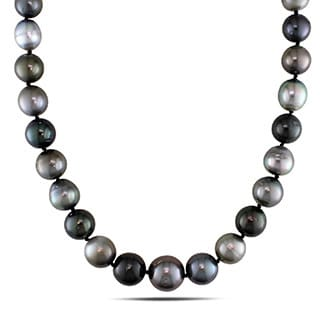 Miadora 14k White Gold Tahitian Multi-color Pearl Necklace (7-14 mm)