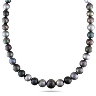 Miadora 14k White Gold Multi-color Tahitian Pearl Necklace (9-14.5 mm)