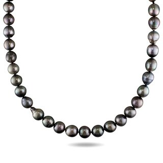 Miadora 14k White Gold Tahitian Platinum Pearl Necklace (9.5-11 mm)