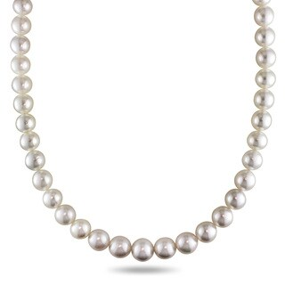 Miadora Signature Collection 14k Yellow Gold South Sea Pearl and Diamond Necklace (9-11.5 mm)