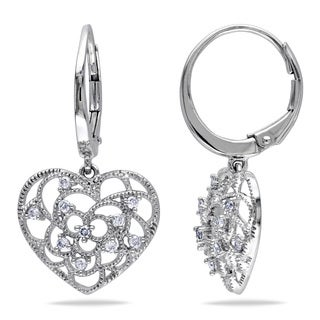 Miadora 14k White Gold 1/4ct TDW Diamond Leverback Heart Earrings