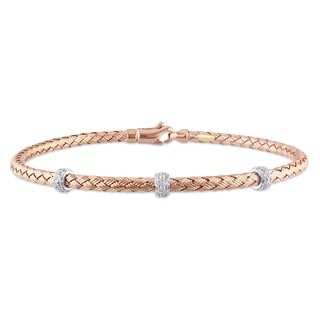 Miadora 14k Rose Gold 1/6ct TDW Diamond Bangle (G-H, SI1-SI2)