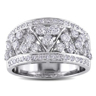 Miadora 18k White Gold 1 1/6ct TDW Vintage Pave Diamond Ring (G-H, I1)